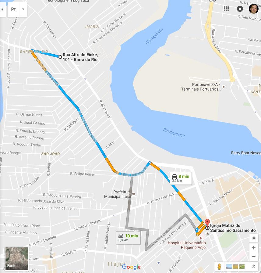 Distância Kitnet até o Centro (ref. Igreja Matriz) - 8 minutos
